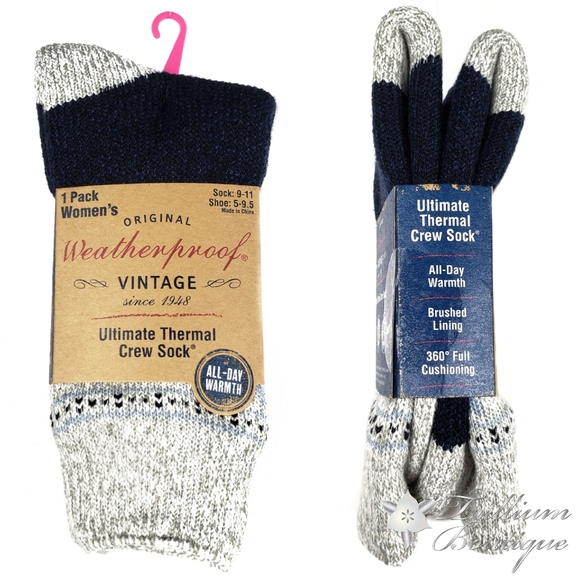 Weatherproof Boot Crew Socks for Womens,Warm,Soft Cotton Blend,Show Size 5-9....